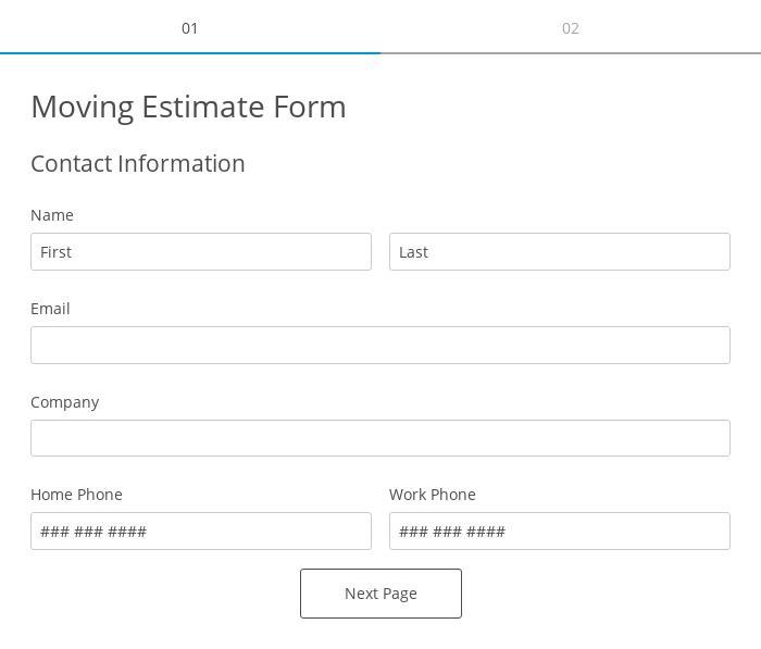 Moving Estimate Form