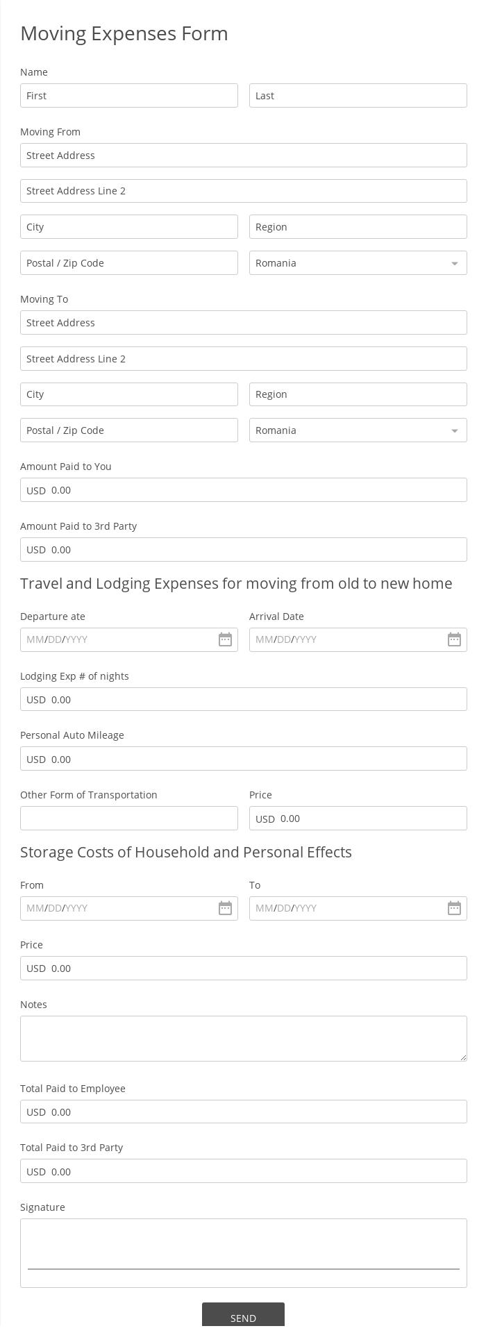 Moving Expenses Form