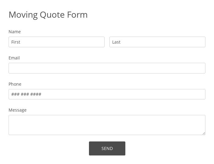 Moving Quote Form