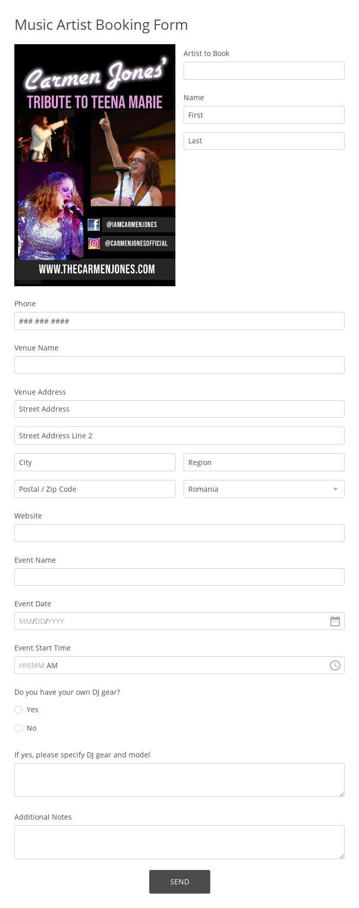 Music Artist Booking Form