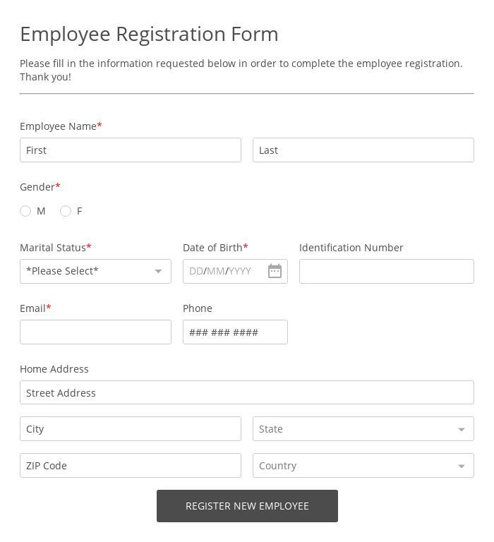 New Employee Registration Form
