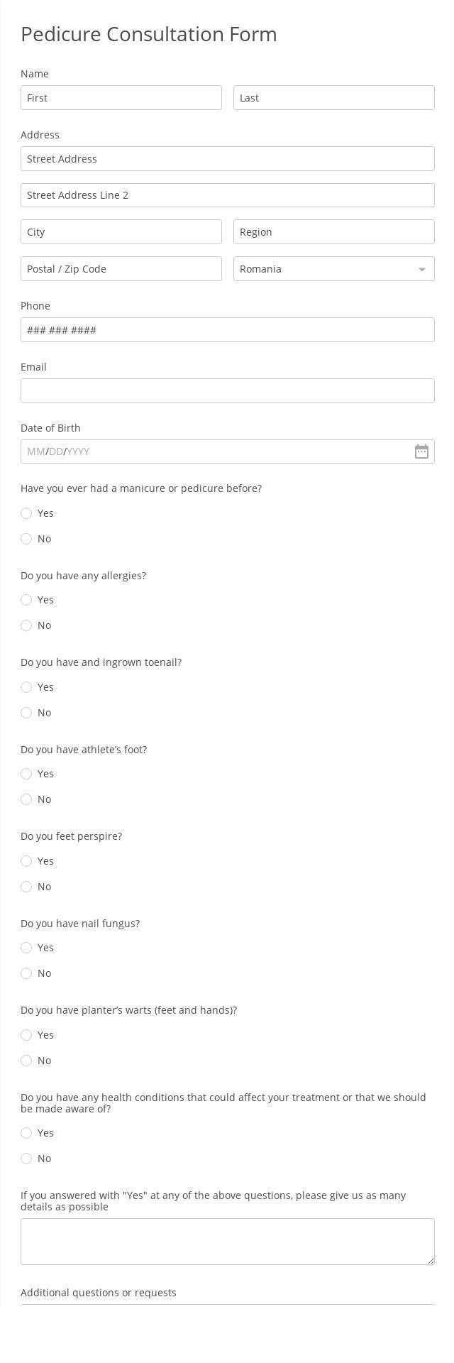 Pedicure Consultation Form