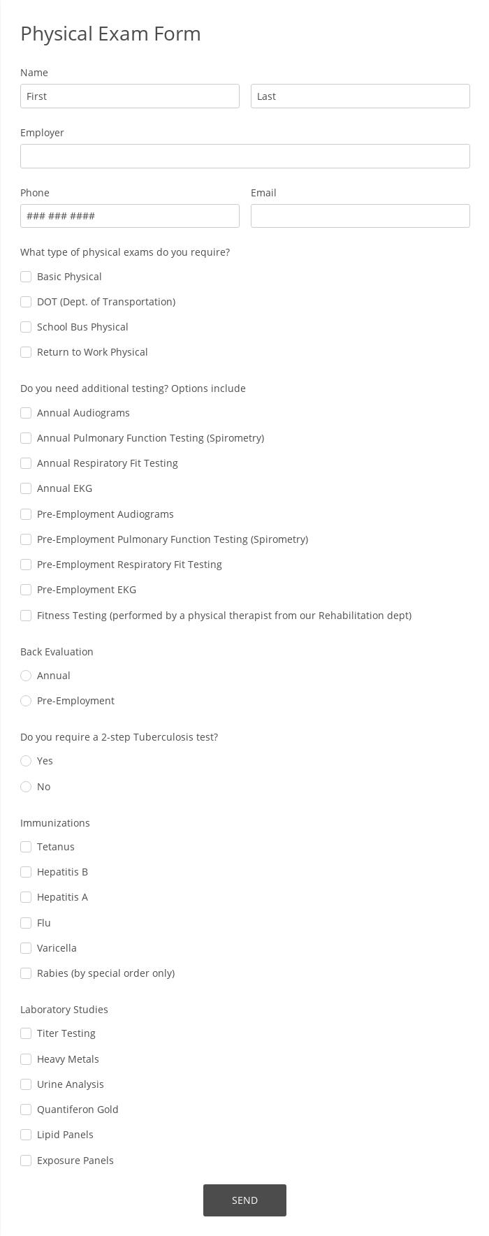 Physical Exam Form