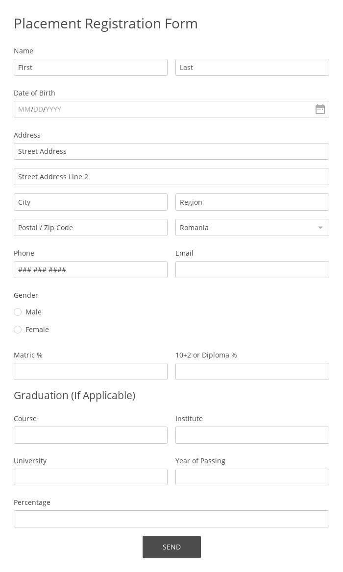 Placement Registration Form