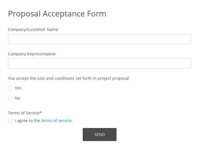 Proposal Acceptance Form