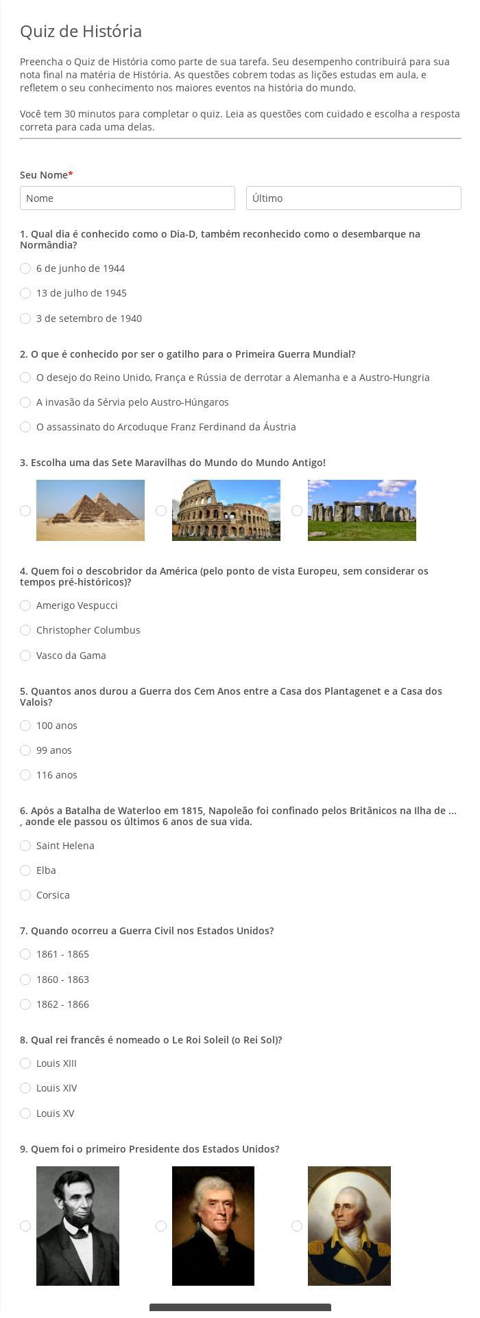 Quiz de História