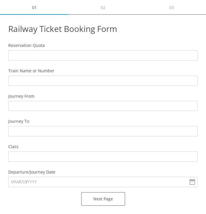 Railway Ticket Booking Form