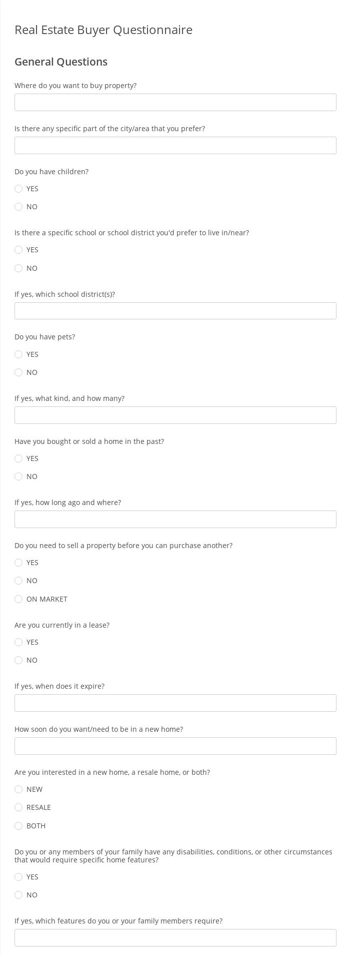 Real Estate Buyer Questionnaire