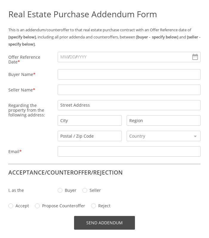 Real Estate Purchase Addendum Form