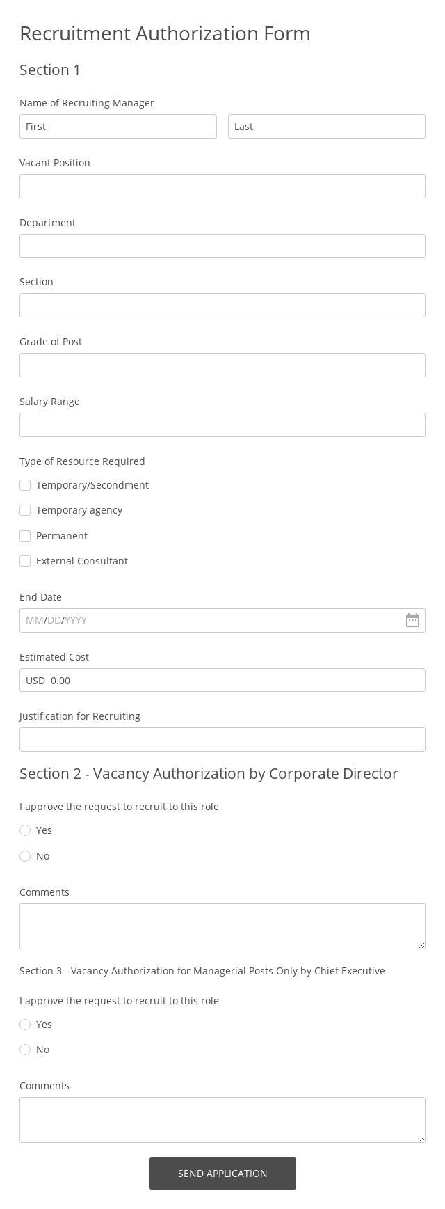 Recruitment Authorisation Form