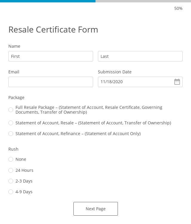 Resale Certificate Form