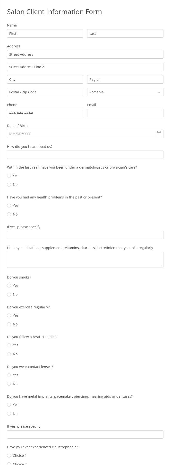 Salon Client Information Form