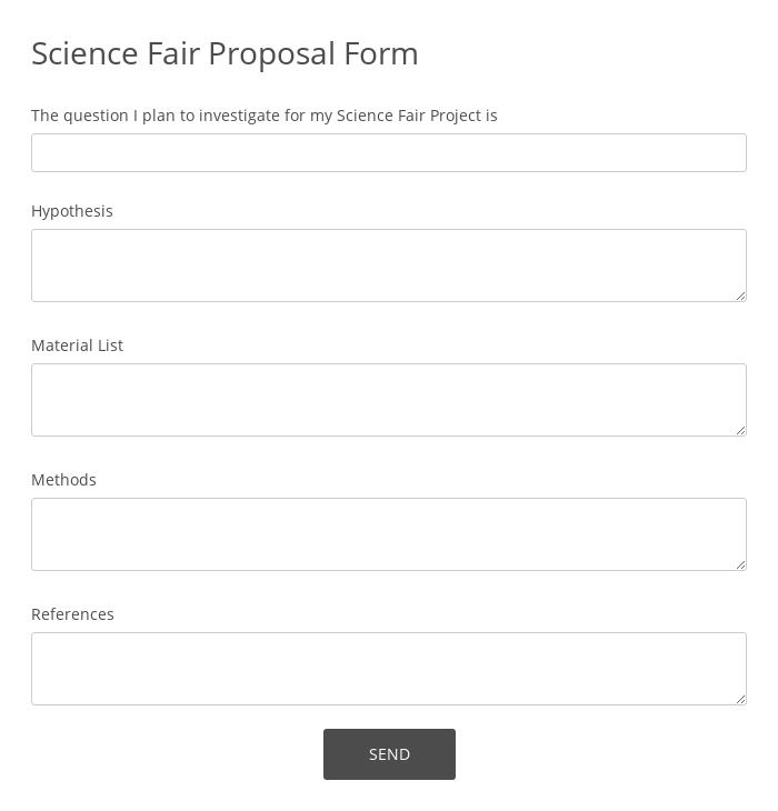 Science Fair Proposal Form
