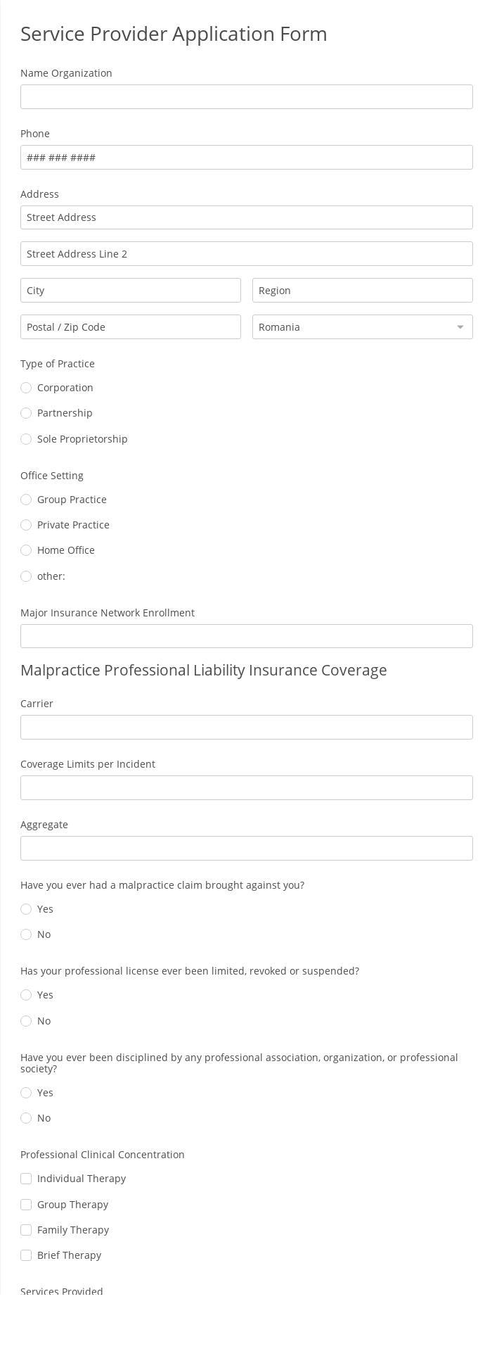 Service Provider Application Form