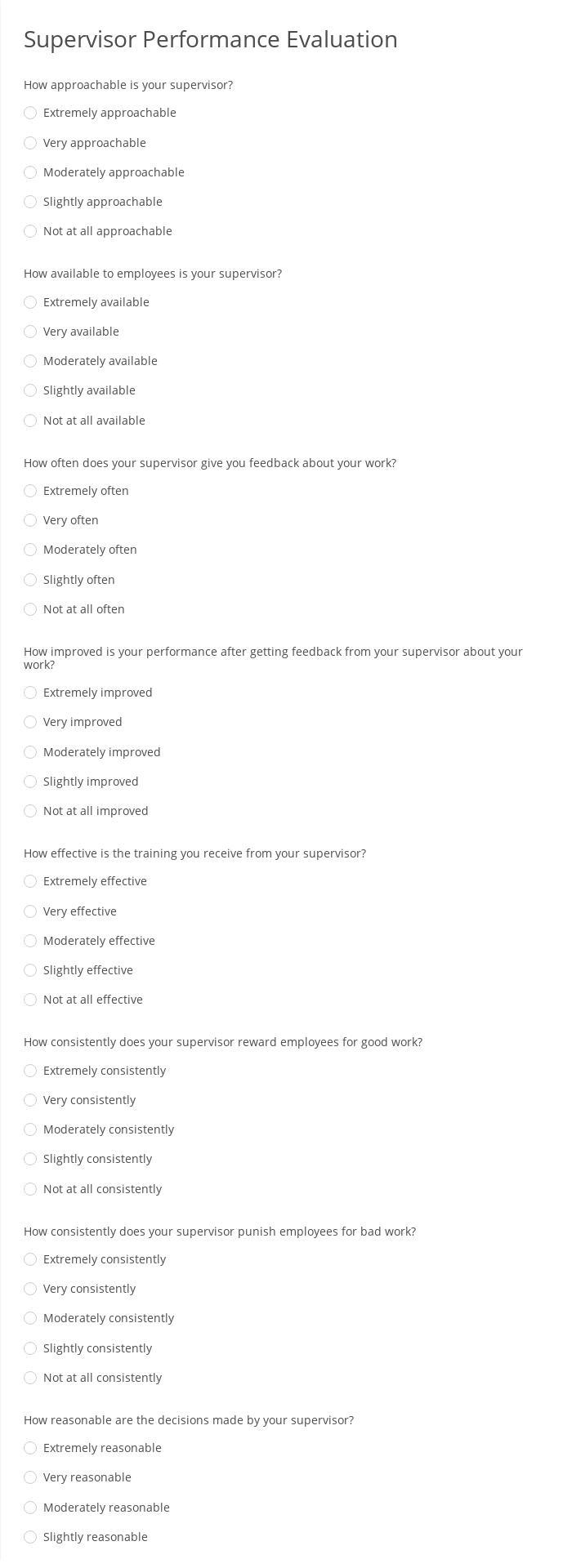 Supervisor Performance Evaluation