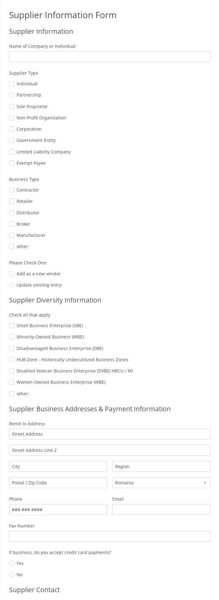 Supplier Information Form