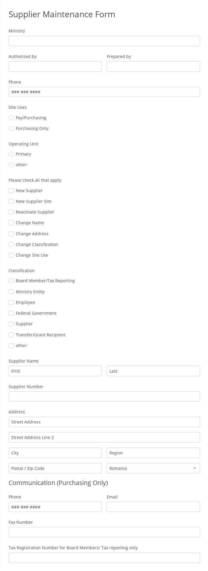 Supplier Maintenance Form