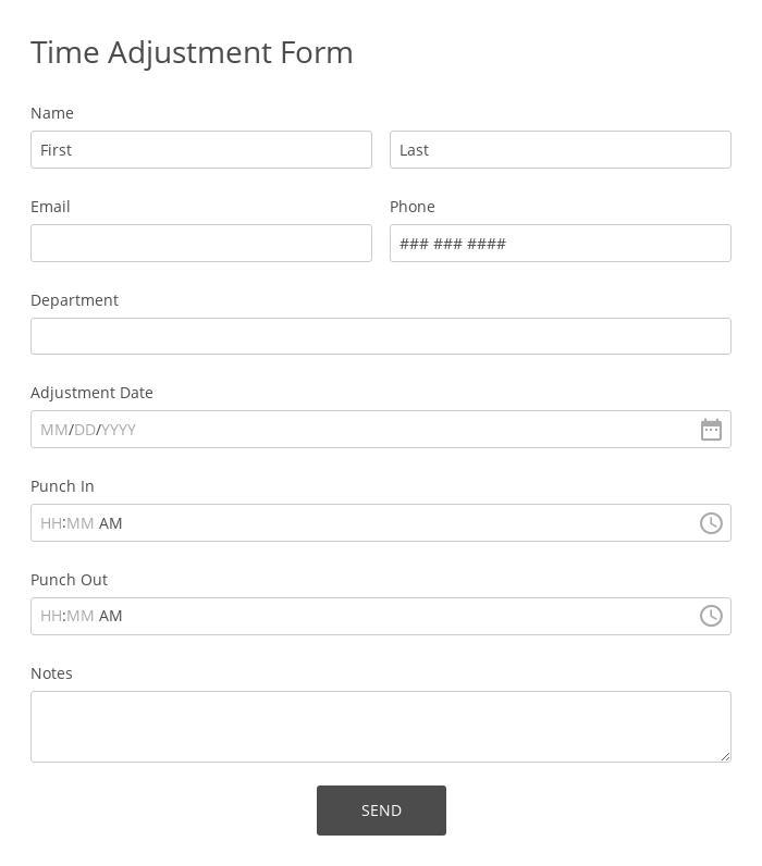 Time Adjustment Form