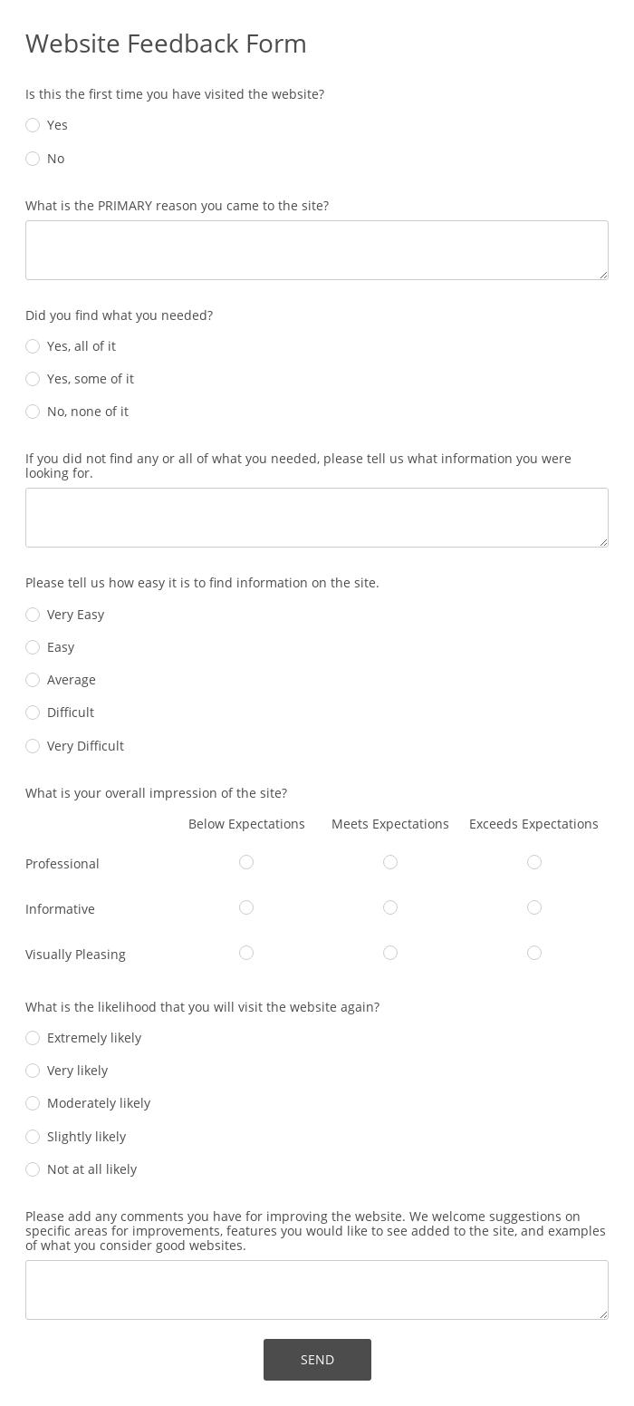 Website Feedback Form