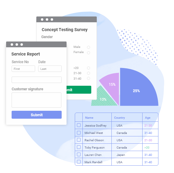 form with reports and pie chart
