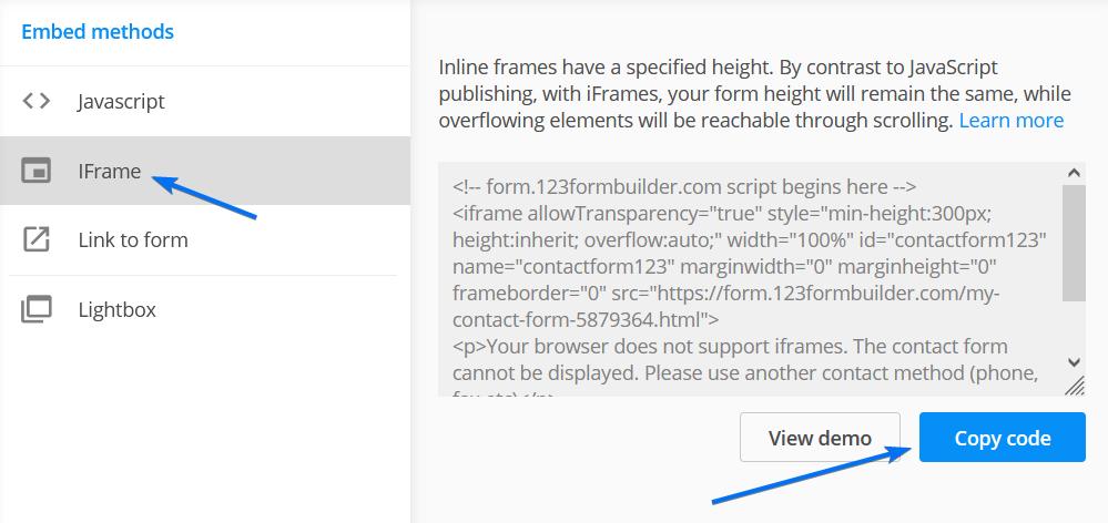 Embed IFrame code