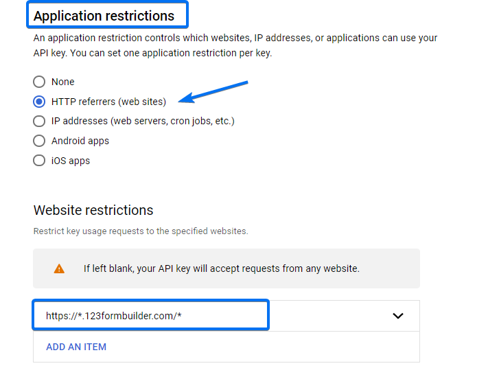 Application restrictions
