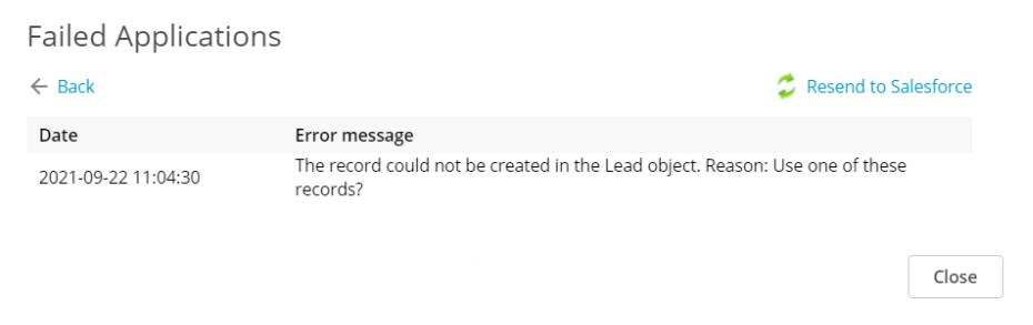 Failed applications error