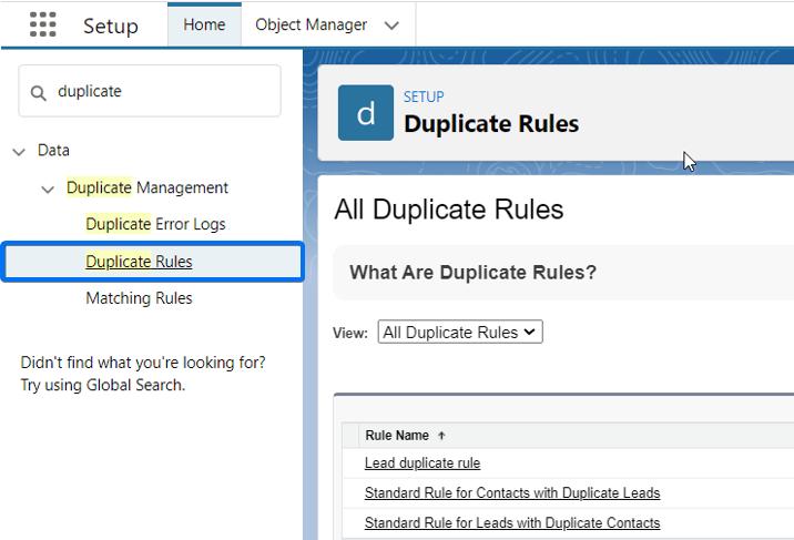 Salesforce Duplicate Rules