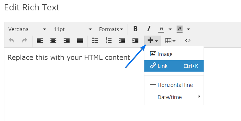 Edit HTML field