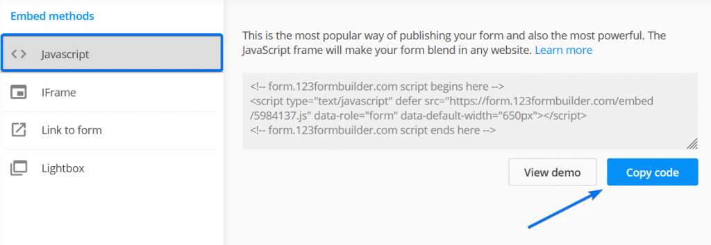 Embed Javascript