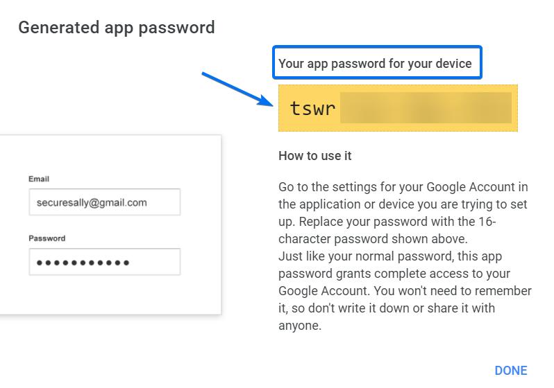 Generated App password