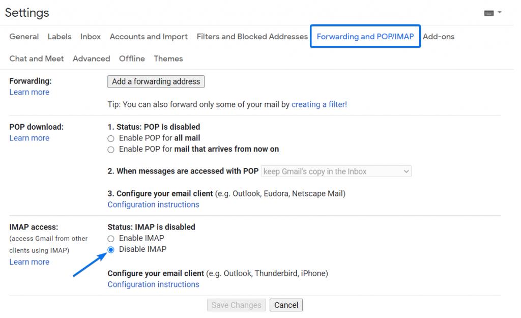 Gmail disable IMAP