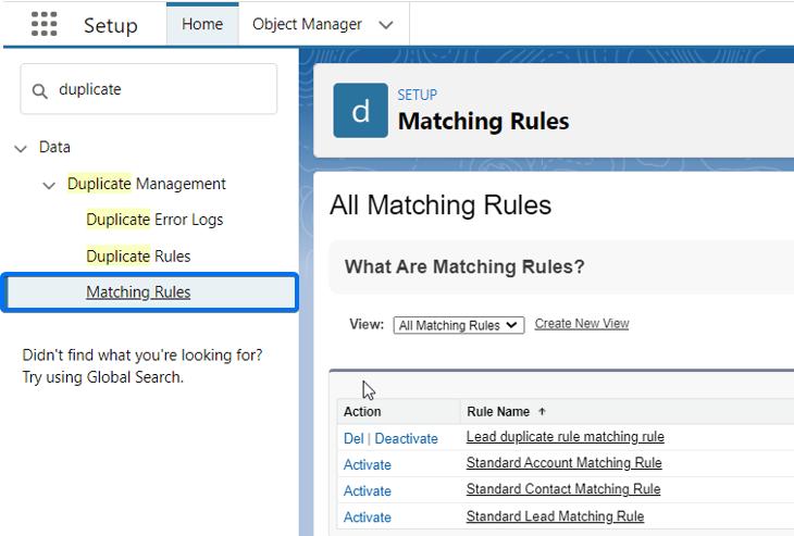 Salesforce Matching Rules