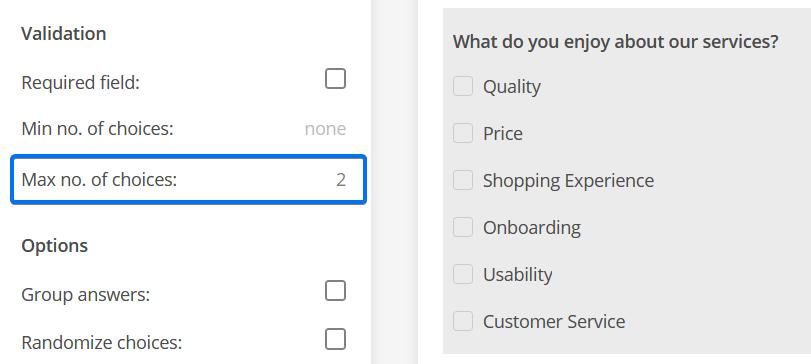 Maximum number of choices