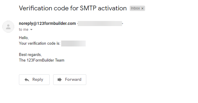 SMTP verification code