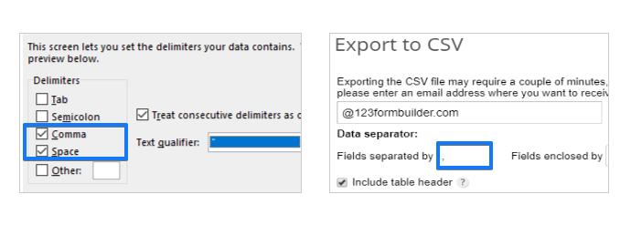 csv file separator