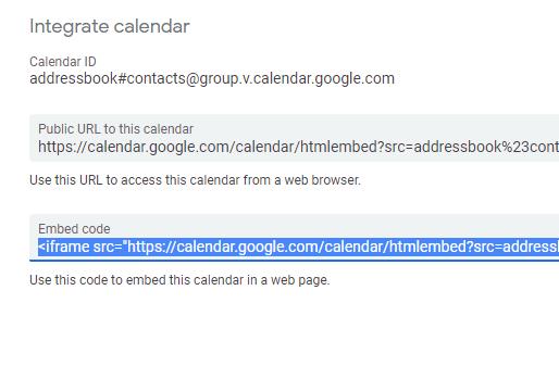 Calendar embed code