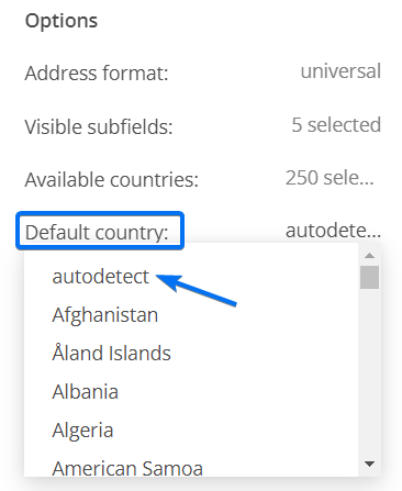 Address field default country