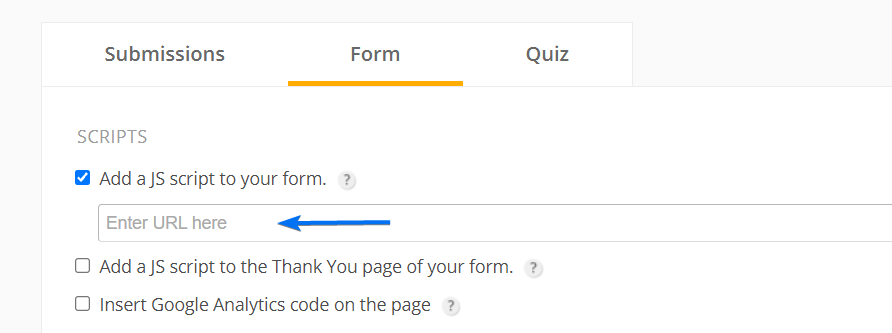 Add a custom JS to your form
