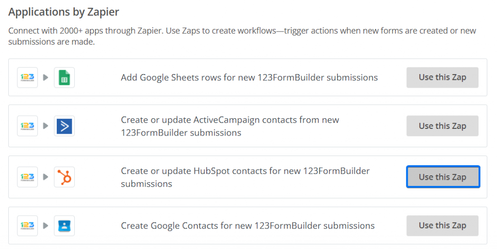 Applications by Zapier