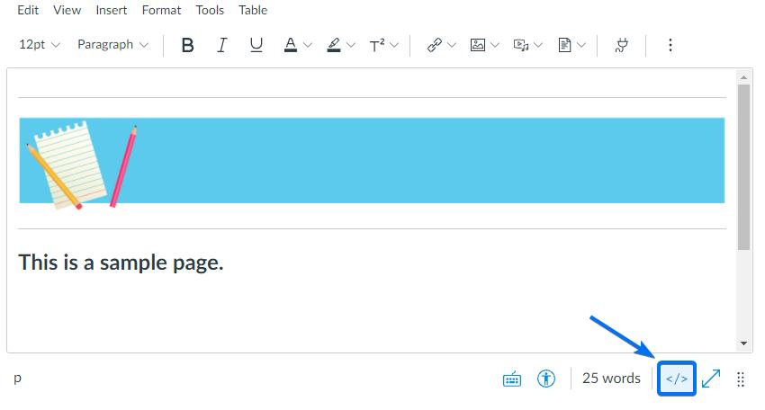 Canvas course HTML Editor