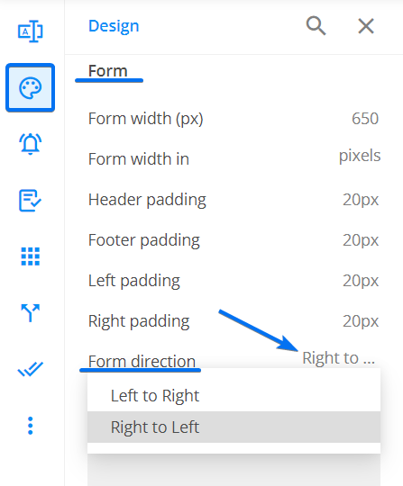 Form text direction