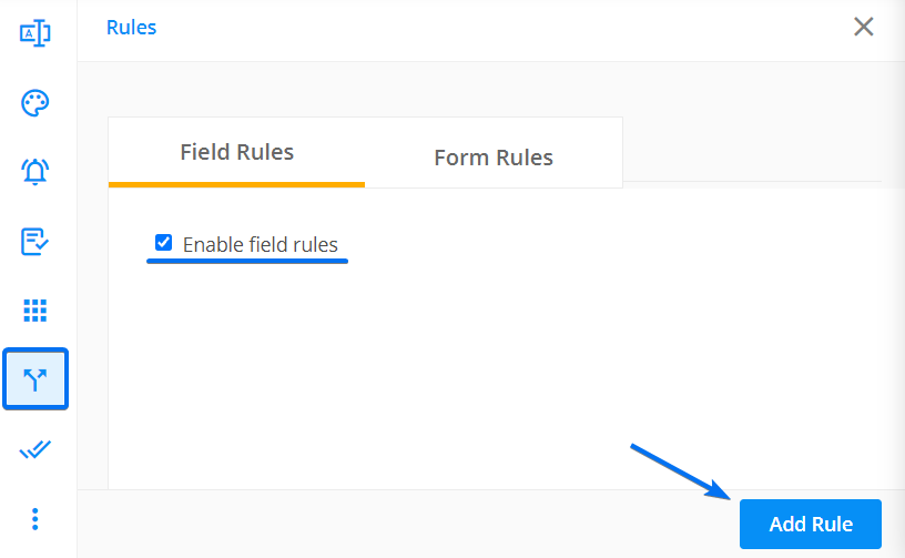 Enable field rules