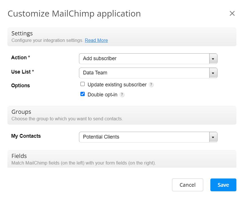 Customize Mailchimp application
