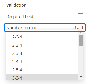 Phone field number format