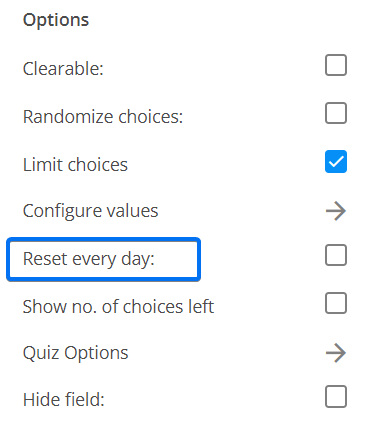 Reset every day