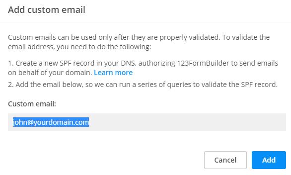 Add custom email