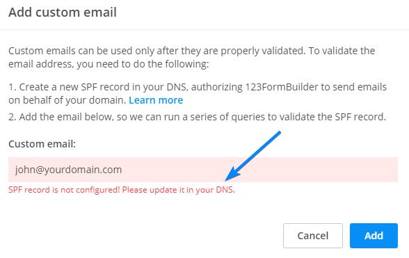 SPF error message