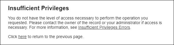 Insufficient privileges